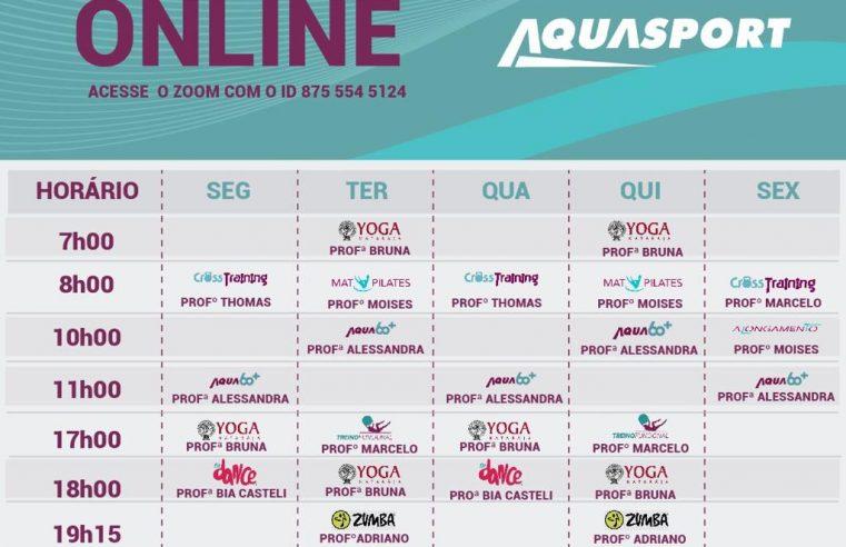 A AQUASPORT está oferecendo uma série de aulas online e gratuitas